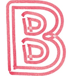 Capital letter B drawing with Red Marker vector image