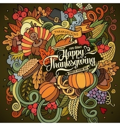 Cartoon hand drawn Doodle Thanksgiving vector image