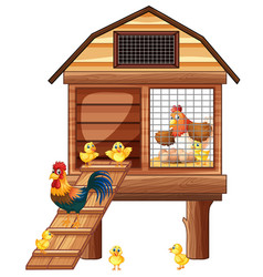 Chicken coop with many chicks vector