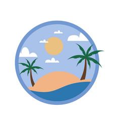 circular beach palm trees tour travel island vector image