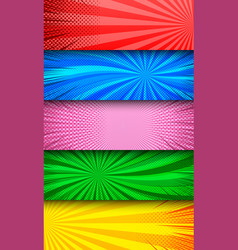 colorful comic explosive horizontal banners vector image