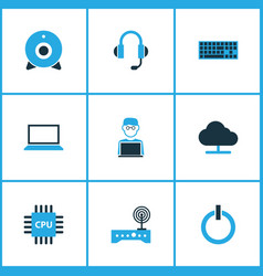 Computer hardware colorful icons set collection vector