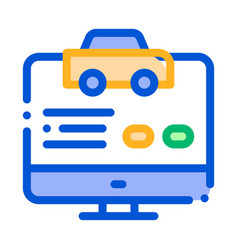 Computer site for calling online taxi icon vector