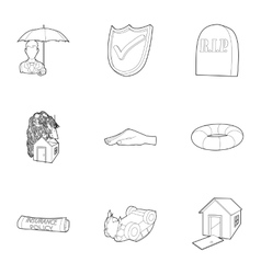 Crash icons set outline style vector