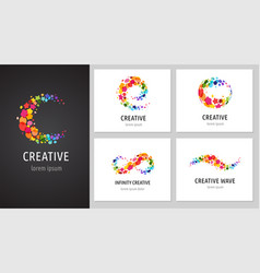 creative icons logo collection with letters vector image