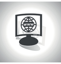 Curved global network monitor icon vector