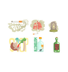 dangers smoking cigarette and drinking alcohol vector image