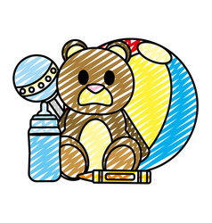 doodle cute babe toys things design vector image