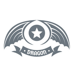 Dragon wing logo simple gray style vector