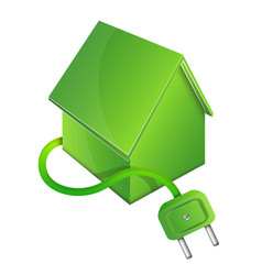 Eco house with electric plug vector