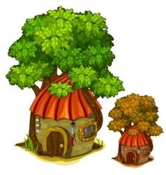 Fabulous stone house under big tree vector