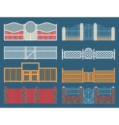 Fences and gates set vector