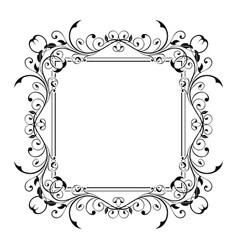 Floral decorative frame black ornamental branch vector