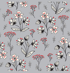 Floral winter holiday tile pattern leaves berries vector