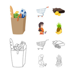 Food and drink icon set of vector
