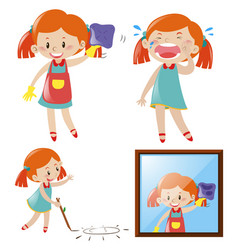 girl doing different actions vector image
