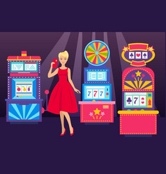 girl in elegant dress with phone visiting casino vector image
