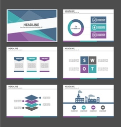 Green blue purple presentation temaplates set vector
