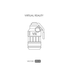 Grenade Outline drawing Gun for virtual reality vector