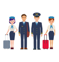 Group pilots and flight attendants with luggage vector