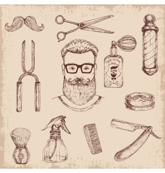 Hand Drawn Barber Elements vector image