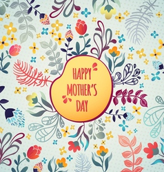 Happy Mothers Day Flowers pattern decorative card vector