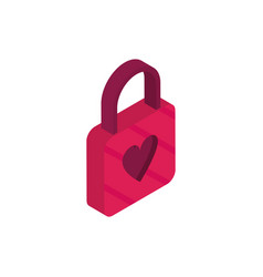 happy valentines day red padlock shape heart vector image