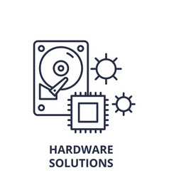 hardware solutions line icon concept hardware vector image