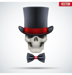 Human skull with cylinder hat and bow tie vector image