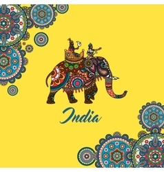 Indian maharaja sitting on elephant vector