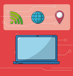 internet and technology icons vector image