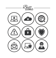 internet privacy icons cyber crime signs vector image