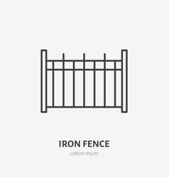 iron fence flat line icon metal border sign thin vector image