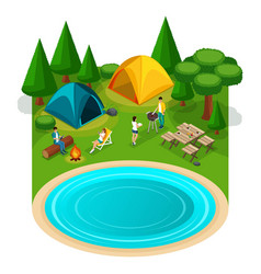 Isometric expedition travel hiking webpage with w vector