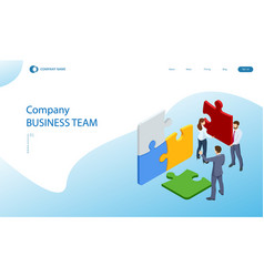 isometric teamwork with puzzle teamwork vector image