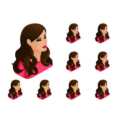 isometry girl set of hairstyles and emotions vector image