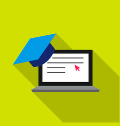 laptop icon flat single education icon from the vector image