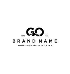 Letter go mountain logo design vector
