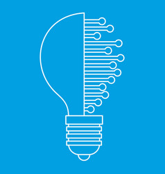 lightbulb with microcircuit icon outline vector image