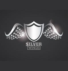 Luxury silver wings vector