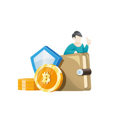 man investing a bitcoin in his wallet vector image