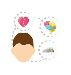 Man with heart brain cloud thunder icons around vector