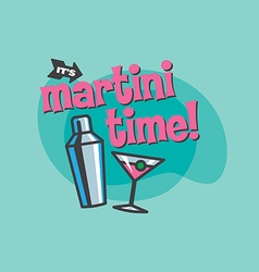Martini time design vector