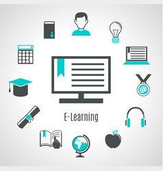 Minimalist style elearning composition vector