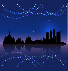 moscow silhouete and chritsmas lights vector image