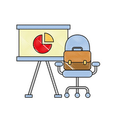 office presentation board chair and briefcase vector image