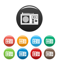 old radio with antenna icons set color vector image