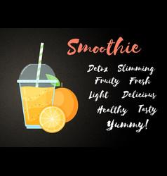 Orange natural smoothie fruit shake vector