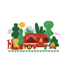 outdoor camp background doodle picnic summer vector image