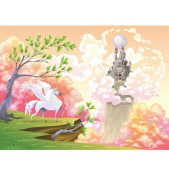 Pegasus and mythological landscape vector image